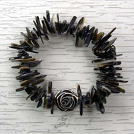 Black Lip Shell Stretch Bracelet