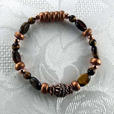 Tiger Eye Gemstones/Copper Stretch Bracelet