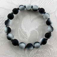 Black/White Rubber Coated Glass/Hematite Stretch Bracelet