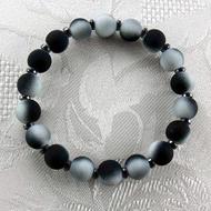 Black/White Rubber Coated Glass/Hematite Stretch Bracelet