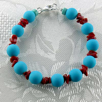 Turquoise Rubber Coated Glass/Red Coral Chips Stretch Bracelet