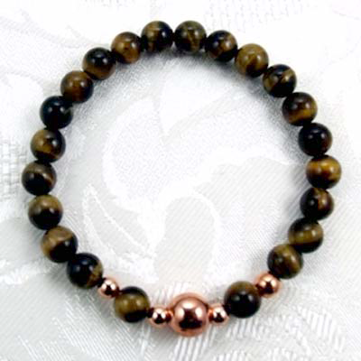 Men's Tiger's Eye/Copper Stretch Bracelet
