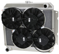 "1966-1969 22"" Core Mopar Aluminum Radiator (w/ 4- 9"" Spal Low Profile fans)"
