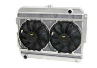 "1966-1969  26"" (B/B) Mopar Applications Aluminum Radiator (W/ BRACKET MOUNTED HIGH PERFORMANCE  Fans)"