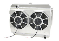 "1966-1969  26"" (S/B) Mopar Applications Aluminum Radiator (W/ Shroud & INTEGRATED Paddle Blade  Fans)"