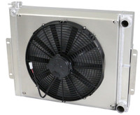 "1976-1986 Jeep CJ Crossflow (Chevy V8, LS) Aluminum Radiator (w/ MEDIUM Profile Fans, 6.5"" Thick)"