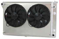 "1978-1993 Chevrolet Trucks Aluminum Radiator (21.5"" tall) W/ High Performance Fans & Shroud"