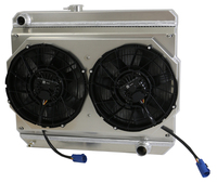 "1966-1967 Chevrolet Bel Air/ Impala (17.5"" Core, w/ Factory Air) Aluminum Radiator w/ BRUSHLESS FANS & Shroud"