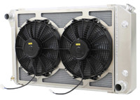 "26.25"" Core: Various GM Applications Aluminum Radiator  w/ Dual HIGH PERFORMANCE Fans"