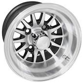 "10""x7"" RHOX Phoenix Machined Golf Cart Wheel with Black Insert"