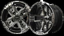 """12""""x7"""" Madjax Apex Machined/Black Golf Cart Wheel"""