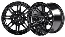 "14""x7"" Madjax Illusion Black Golf Cart Wheel Only w/Color Insert Option"
