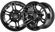 "14""x7"" Madjax Mirage Black Golf Cart Wheel Color Insert Options"