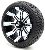 """12"""" - """"Tempest"""" Black/White Low Profile Tire and Wheel combo"""