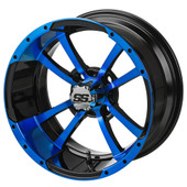 """14"""" - """"Storm Trooper"""" Black/Blue Low Profile Tire and Wheel Combo"""