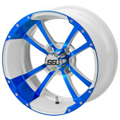 """14"""" - """"Storm Trooper"""" Blue/White Low Profile Tire and Wheel Combo"""