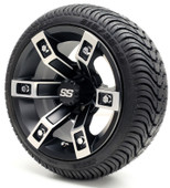 """12"""" GTW Brute SS Machined Black Wheel and Low Profile Tire Combo"""