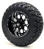 "12"" GTW Vortex SS Gloss Black Wheels Combo - Choose the Lift Kit"