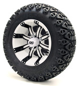 "12"" Tempest SS White/Black Wheels plus X-Trail Tires"
