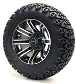 """Madjax 12"""" Machined Black Avenger Wheels Combo - Choose the Lifted Tires and Lift Kit"""