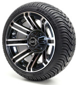 Madjax 12'' Machined Black Avenger  Wheels with Street Low Profile Tire Options Combo