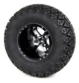 "10"" Twister Machined Black SS Wheels with Lifted Tires Combo"