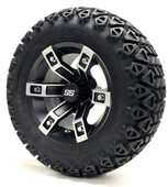 "12"" Brute SS Machined Black Wheels with Lifted Tire Options Combo"