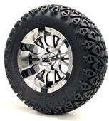 "12"" Diesel SS Machined Black Wheels with Lifted Tire Options Combo"