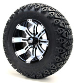 """12"""" Black and White Tempest SS Wheels with Lifted Tire Options Combo"""