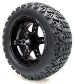 "Madjax 14"" Dominator Matte Black Wheels with Lifted Tire Options Combo"