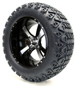 """14"""" Twister SS Machined Black Wheels with Lifted Tire Options Combo"""