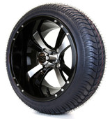 """14"""" Twister SS Machined and Black Wheels with Street Low Profile Tire Combo"""