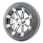 """14"""" RHOX Vegas Machined Wheels and LowPro Tires Combo"""