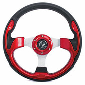 "GTW Rally Red 12.5"" Golf Cart Steering Wheel"