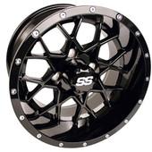 "14""x7"" GTW Vortex Gloss Black Golf Cart Wheel"