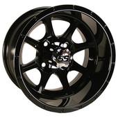 "12""x7"" GTW Tremor Gloss Black Golf Cart Wheel"