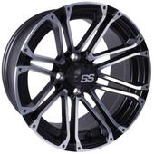 "12""x7"" GTW Voyager Matte Black Golf Cart Wheel"