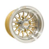 """10""""x7"""" GTW Medusa Machined w/ Gold accent Golf Cart Wheel"""