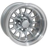 "10""x7"" GTW Medusa Machined w/ Silver Golf Cart Wheel"
