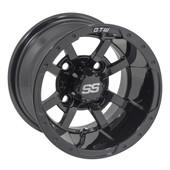 "10""x7"" GTW Storm Trooper Gloss Black Golf Cart Wheel"