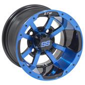 "10""x7"" GTW Storm Trooper Gloss Black w/ Blue accent Golf Cart Wheel"