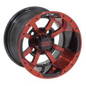 "10""x7"" GTW Storm Trooper Black w/Red accent Golf Cart Wheel"