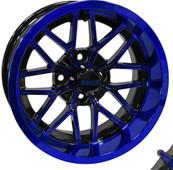"""14""""x7"""" RHOX RX281  Gloss Black/Blue  ET-25 Golf Cart Wheel"""
