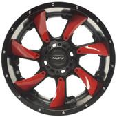 """12""""x7"""" MJFX Blackhawk Red Insert Golf Cart Wheels (Set of 4)"""