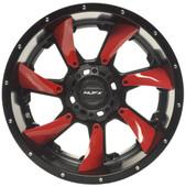 """14""""x7"""" MJFX Blackhawk Red Insert Golf Cart Wheels (Set of 4)"""