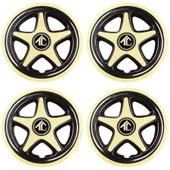 "8"" Star 5 Spoke Gold And Black Golf Cart Wheel Cover - Set of 4"