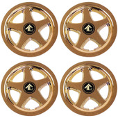 "8"" Star 5 Spoke Gold Plated Golf Cart Wheel Cover - Set of 4"