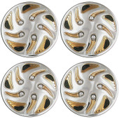"""8"""" Swirl Style Gold And Chrome Golf Cart Wheel Covers - Set of 4"""