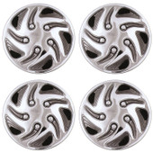 """8"""" Swirl Style Black And Chrome Golf Cart Wheel Covers - Set of 4"""