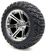 """Madjax 14"""" Nitro Chrome Wheels with Lifted Tire Options Combo"""